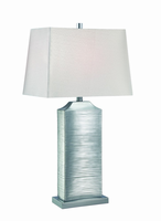 Table Lamp, Chrome Finished/silver Fabric Shd, E27 Cfl 23w