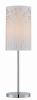 Table Lamp, Chrome/gold Laser Cut Fabric Shade, E27 Cfl 13w