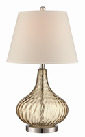 Table Lamp, Chrome/l.amber Glass/fabric Shade, E27 Cfl 23w