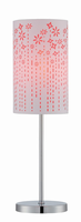 Table Lamp, Chrome/red Laser Cut Fabric Shade, E27 Cfl 13w