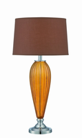 Table Lamp, Chrome/tawny Glass/coffee Fabric, E27 Cfl 23w