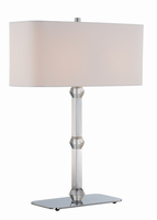 Table Lamp, Chrome W.crystal/white Fabric, E27 Cfl 13wx2
