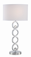 Table Lamp, Chrome/white Fabric Shade/crystal, E27 Cfl 23w
