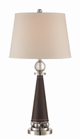 Table Lamp, Chrome/white Fabric Shade, E27 Type Cfl 23w