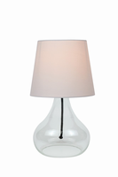 Table Lamp, Clear Glass Body/white Fabric Shd, E27 Cfl 13w