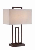 Table Lamp, D.bronze/fabric Shade, Outletx2, E27 Cfl 13wx2