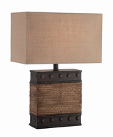 Table Lamp,d.brown/ Rope Deco /tan Linen Shd, E27 Cfl 23w