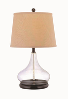 Table Lamp, D.brz/clear Glass Body/l.beige, E27 Cfl 13w