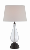 Table Lamp, D. Brz/clear Glass/off-wht Fabric, E27 Cfl 23w