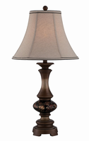 Table Lamp - D.brz W.glass Deco./fabric Shade, E27 Cfl 23w
