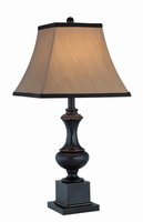 Table Lamp - Dark Bronze/beige Fabric Shade, E27 Type A 150