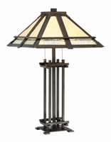 Table Lamp - Dark Bronze/mica Shade, E27 Type A 60wx2