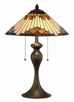 Table Lamp, Dark Brown Finished/tiffany Shade, E27 A 60wx2