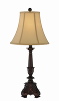 Table Lamp - Dark Brown/l.beige Fabric Shade, E27 Cfl 13w