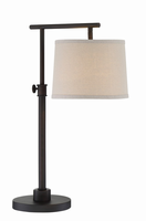 Table Lamp, Dark Brown/linen Fabric Shade, E27 Cfl 13w