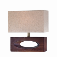 Table Lamp, Dark Walnut Finished/linen Fabric, E27 Cfl 13w