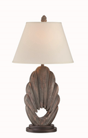 Table Lamp, Dark Walnut Finished/off-wht Fabric, E27 Cfl 23w