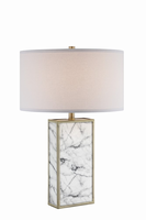 Table Lamp, Faux Marble/white Linen Shade, E27 Type A 100w