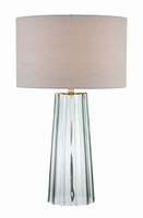 Table Lamp, Glass Body/linen Fabric Shade, E27 Cfl 23w