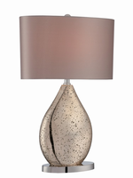 Table Lamp, Gold Glass Body/beige Fabric Shade, E27 Cfl 23w
