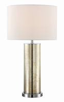 Table Lamp, Gold/white Fabric Shade, E27 A 100w