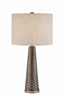 Table Lamp, Gunmetal Finished Ceramic/white Linen, A 150w