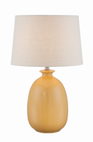Table Lamp, Harvest Yellow Ceramic/fabric Shade, E27 Cfl 23w