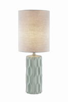 Table Lamp, L.grey Ceramic Body/fabric Shade, E27 Type A 60w