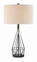 Table Lamp, Matte Black/fabric Shade, E27 Type A 150w