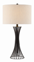 Table Lamp, Matte Black/linen Fabric Shade, E27 Type A 150w