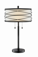 Table Lamp, Outer Metal/inner Fabric Shade, E27 A 60wx2