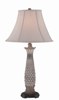 Table Lamp - Painted Palm Tree Body/fabric Shd, E27 Cfl 23w