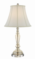Table Lamp, Polished Steel/champagne Glass/white Fabric Shd, E27 Cfl 23w