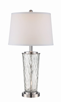 Table Lamp, Polished Steel/clear Glass Body/white Fabric, E27 Cfl 23w
