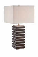 Table Lamp, Polished Steel/dark Walnut Finished, Fabric Shade, A 150w