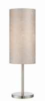 Table Lamp, Polished Steel/fabric Shade, E27 Cfl 30w