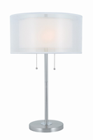 Table Lamp, Polished Steel/fabric Shade, E27 Type A 60w X 2
