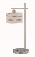 Table Lamp, Polished Steel/fro Gls Shd W.glazed Blk Lines, E27 Cfl 13w