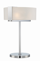 Table Lamp, Polished Steel/frost Curved Glass Shade, E27 Type Cfl 13wx2
