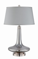Table Lamp, Polished Steel/glass Body/fabric Shade, E27 Cfl 23w