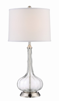 Table Lamp, Polished Steel/glass Body/linen Fabric Shade, E27 Cfl 23w
