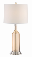 Table Lamp, Polished Steel/glass Body/white Fabric Shade, E27 Cfl 23w