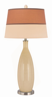 Table Lamp, Polished Steel/ivory Glass Body/fabric Shade, E27 Cfl 23w