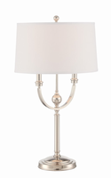 Table Lamp, Polished Steel/linen Fabric Shade, E27 Cfl 23w