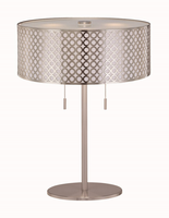 Table Lamp, Polished Steel/metal Cut-out Shd W/liner, E27 Cfl 13wx2