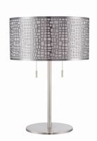 Table Lamp, Polished Steel/metal Shade W/ Liner&diffuser, E27 Cfl 13wx2