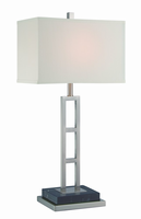 Table Lamp, Polished Steel/off-white Fabric Shade, E27 Cfl 13w