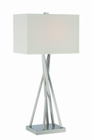 Table Lamp, Polished Steel/off-white Fabric Shade, E27 Cfl 23w