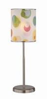 Table Lamp, Polished Steel, Printed Vinyl Shade, E27 Cfl 11w