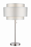 Table Lamp, Polished Steel/silver Paper Shade, E27 Cfl 23w